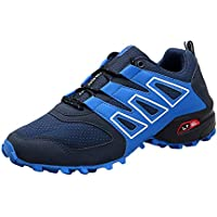 Reflectantes Zapatilla De Deporte Ata para Hombre Arriba Zapatos Planos Ligeros De Ocio para Fitness Entrenamiento Diario Al Aire Libre (Azul/Negro/Gris)