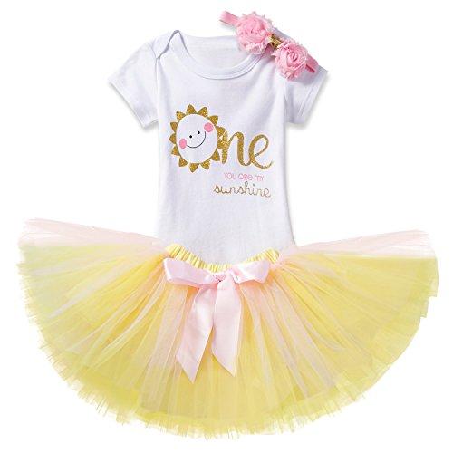 NNJXD Mädchen Newborn 1. Geburtstag 3 Stück Outfits Strampler + Tutu Kleid + Stirnband Größe (1) 1 Jahre Gelb