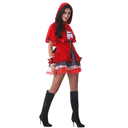 Lisli Halloween Kostüm Rotkäppchen Kleid Kaputzenumhang Cape Kapuzen Red Riding Hood Verkleidung Fasching Karneval Party Cosplay Costume One Size