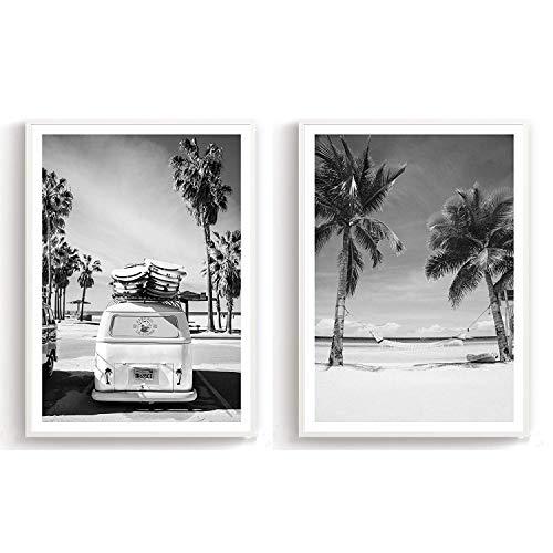 Flanacom Design-Poster Hochglanzdruck 2er Set A3 Schwarz Weiß Kunstdruck auf Premiumpapier Deko Wohnung Modern 29,7x42cm - Motiv Strand Palmen Surfer Bus