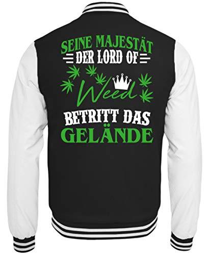 Hanf Shirt Joint/Kiffer/Gras/Cannabis/Marihuana/Weed/Pulli/Pullover/Hoody/T-Shirt/Bong/Rauchen Amsterdam - College Sweatjacke -M-Schwarz-Weiss (Weed Bong Für Das Rauchen Von Marihuana)