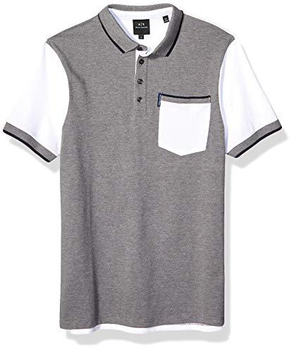 Armani Exchange A X Herren Two Toned Cotton Polo Shirt Poloshirt, Bros Bc09/White, X-Groß -