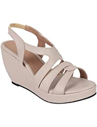 Kinni Kat Women's Stylish Premium Quality Synthetic Leather Cream Color High Heel Casual And Party Wear Wedges