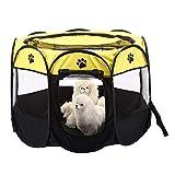 The Fellie Laufgehege für Haustiere, tragbar, faltbar, für Welpen, Hunde, Katzen, Kaninchen, Meerschweinchen, Stoff, Größe S, 74 x 74 x 43 cm, Gelb