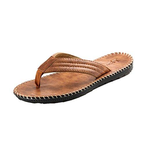 Baymate Uomo Sintetico Pelle Infradito Vacanza Casuale Sandali Pantofole Cachi