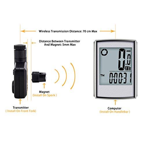 Elinker Fahrradcomputer mit großer LCD Hintergrundbeleuchtung und Motion Sensor für die Verfolgung der Geschwindigkeit und Entfernung, Wireless Radcomputer Drahtlos Tachometer Kilometerzähler - 5