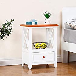 EXQUI Table de Chevet avec étagère et tiroir Blanc Table de Nuit pour Chambre à Coucher, Armoire en Bois, Meuble de Rangement Petite Console pour Le Salon