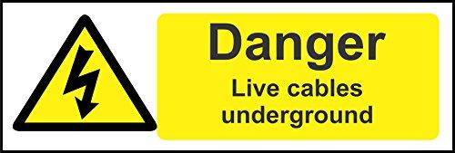 INDIGOS UG - Aufkleber - Sicherheit - Warnung - Spill Kit Station Zeichen Danger live cables underground electrical safety Zeichen 300mm x 100mm - Sticker für Büro, Firma, Schule, Hotel, Werkschutz Office Digital Station
