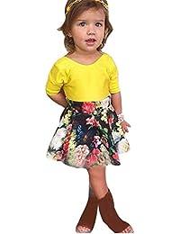 Vestido de niña, RETUROM Forme a muchacha floral de los cabritos la manga corta Blusa