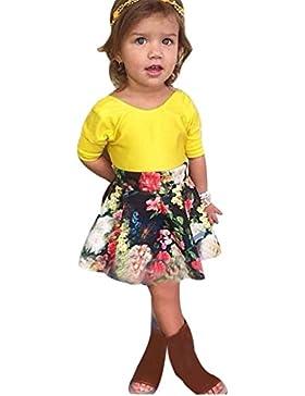 Vestido de niña, RETUROM Forme a muchacha floral de los cabritos la manga corta Blusa + la ropa determinada de...