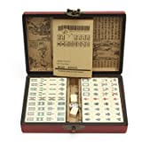 Generic Portable Vintage Mahjong Rare Chinese 144 Tiles Mah-Jong Set Toy with Leather