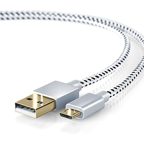 CSL - 0,5m Premium Cable MicroUSB a USB de alta velocidad   Nylon trenzado   Cable cargador y de datos   Cable de carga rápida   Contactos recubiertos de oro 24 k   para Android, Samsung, HTC, Motorola, Nokia, LG, HP, Sony, Blackberry y más