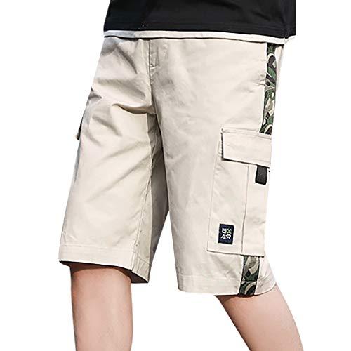 Xmiral Herren Cargohose mit Elastischer Taille Einfarbig Sommer Shorts Große Größe Sports Training Fitness Beachshorts Badehose(B Beige,L)