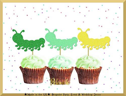 Caterpillar Cupcake-Topper mit Glitzer, für den ersten Geburtstag, Cupcake-Topper, Caterpillar Birthday Party
