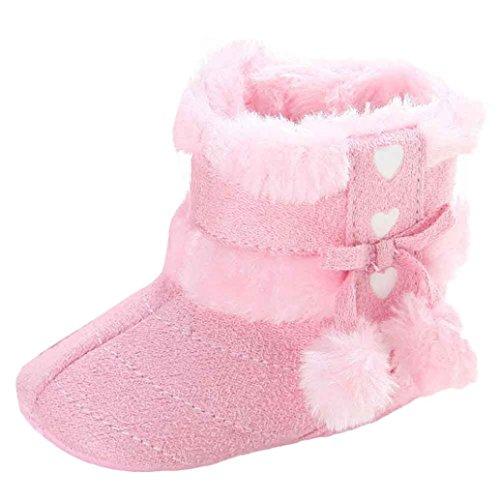 kingko® Baby-Pelzkugel Schnee Dekor Winterstiefel Hallenboden Anti-Rutsch-Säuglingsschuhe Rosa 1