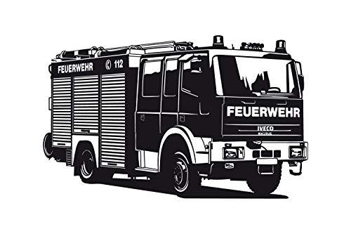 universumsum Wandtattoo Feuerwehr Truck rosa 100 x 60 cm uss278-100-045 Wandaufkleber Wandsticker Wandtattoo Kinderzimmer selbstklebend (Truck Rosa)