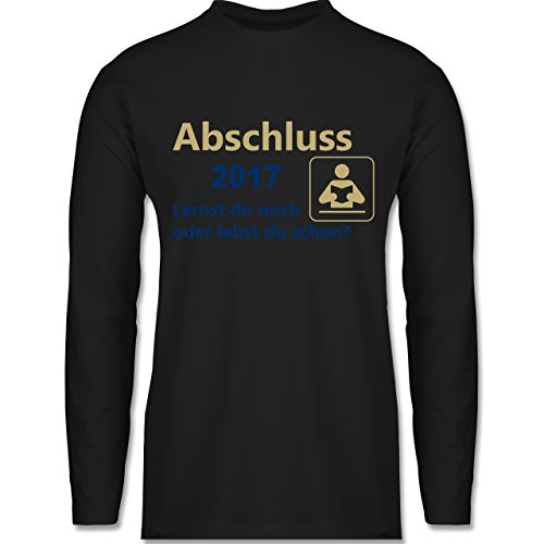 Abi & Abschluss - Abschluss 2017 - Lernst du noch oder lebst du schon? - Longsleeve / langärmeliges T-Shirt für Herren Schwarz