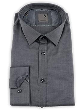 Seidensticker Herren Langarm Hemd Schwarze Rose Slim Fit Business Modern Kent Patch4 grau strukturiert 245076.33