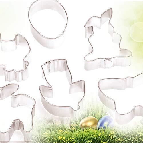 PLÄTZCHEN AUSSTECHER Frühling Sommer Set von 4smile – Made in Germany ǀ 6 Motive Ausstech-Formen für Oster-Plätzchen ǀ große Keksausstecher 6 bis 8 cm ǀ Farbe: Silber