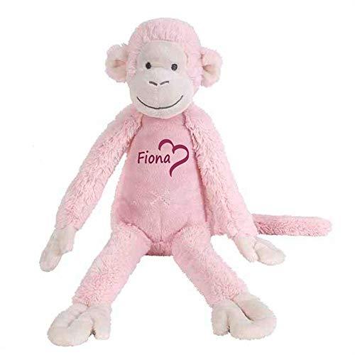 Elefantasie Stofftier AFFE rosa mit Namen personalisiert Geschenk 40cm (Stofftier Rosa Affe)