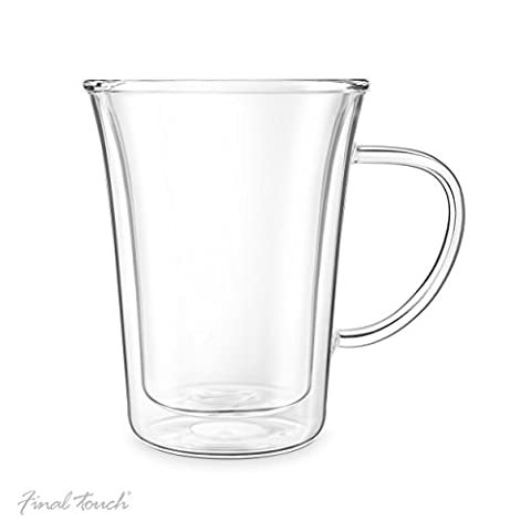 Final Touch 300ml Double-wall Insulated COFFEE GLASS MUG Tasses à