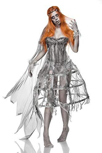 Generique - Deluxe Zombiebraut-Damenkostüm für Halloween grau ()