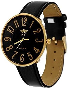 NY London designer Slim Damen Uhr Grau Schwarz Gold super flach inkl.Uhrenbox