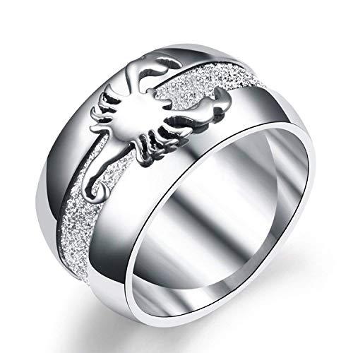 YEBENI Schmuck 10mm Edelstahl einfache Scrub Scorpion Ring für Männer Ringe