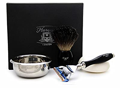 4 Pieces Men's Shaving And Grooming Kit In Black Includes Black Badger Hair Shaving Brush, 5 Edge Razor, Stainless Steel Bowl And Soap Ideal Kit For Men