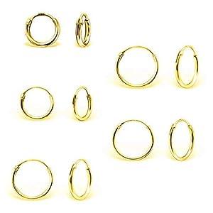 DTPsilver – Damen – 5 Paare Ohrringe 925 Sterling Silber, Gelb Vergoldet oder Rosen-Gold überzogen – Dicke 1.2 mm – Durchmesser 8, 10, 12, 14, 16 mm