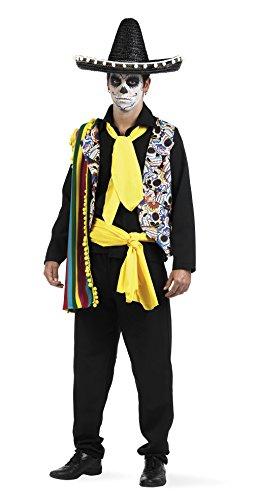Mascarada MA627 Gr. L - Tag der Toten Mexikaner Kostüm, Größe L, gelb/schwarz