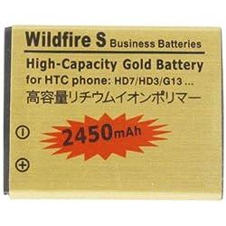 Wewoo Batterie pour HTC Wildfire S / G13 / HD7 / HD3 d'or de capacité élevée de 2450mAh