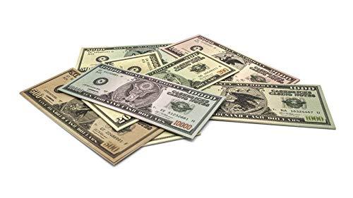 Cashbricks 7 x 10 Spielgeld Dollar Scheine (200$-20.000$) Set (original Dollar Size)