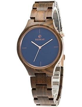 Redear Unisex Hölzerne Natürliches Ebenholz Handgefertigt Armbanduhr Mit Japanischer Quarzwerk Holzuhr Watch Natürliches...