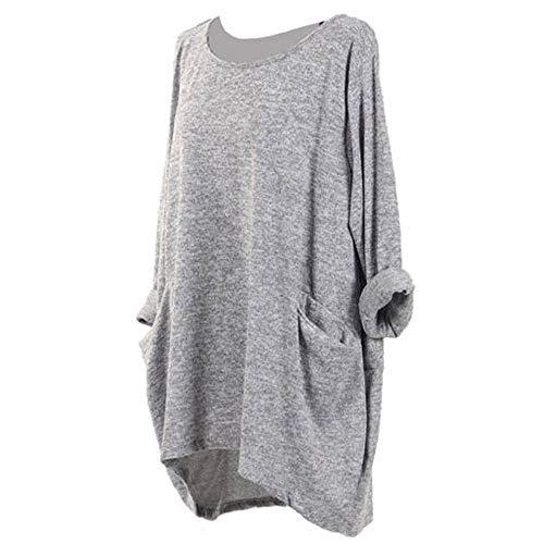SEWORLD Mantel Blusen T-Shirt Damen Langarm Warmer Lösen Zufällige Taschen Pullover Tops für Winter/Herbst/Frühling(W-b-grau,XXL)