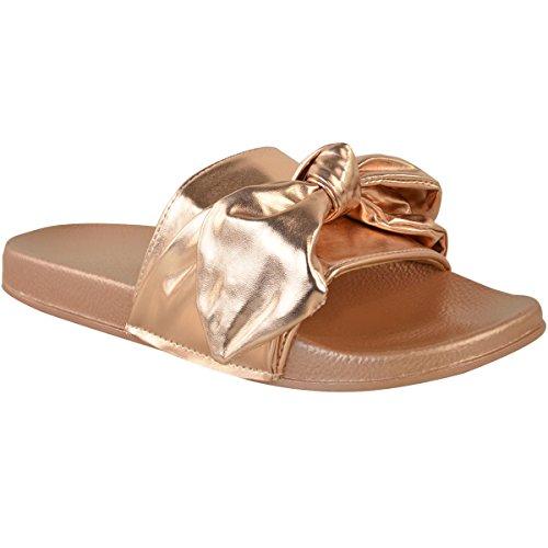 DONNA FERMACAPELLI Basse SCIVOLOSI Sandali SLIP ON sabot pantofola SCARPE ESTIVE TAGLIA rosa dorato metallizzato