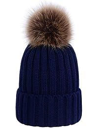 Lau s Sombreros de punto de invierno para mujer - Gorros tejidos de canalé  con pompón de 743dcbe9a0b