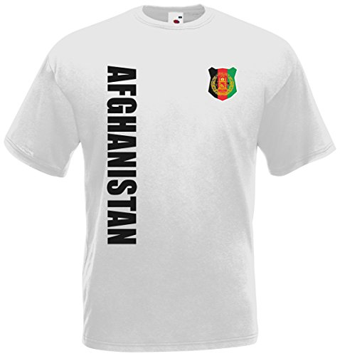 Afghanistan T-Shirt Trikot Wunschname Wunschnummer (Weiß, M) (Weißes T-shirt Afghanistan)