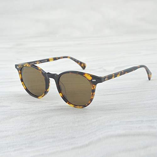 LKVNHP Hohe Qualität Vintage Sonnenbrille Frauen Brille Markendesigner Polarisierte Sonnenbrille Männlich Weiblich Oval Runde Sonnenbrille MännerVs Braun