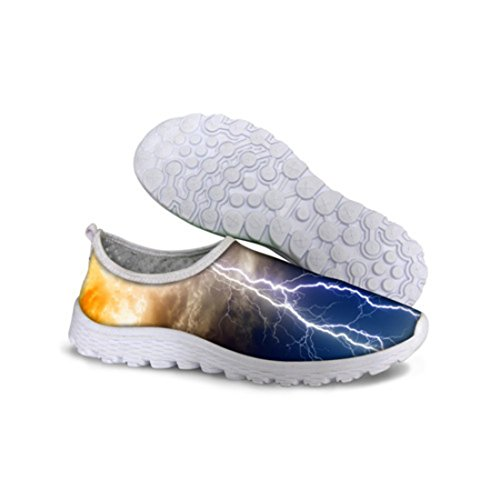 Men's Breathable Slip On Blue Galaxy Absorption Running Shoes C0676AA