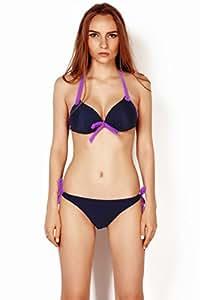 Thinkbay® Womens Lady Sexy 2 PCS Padded Beachwear Halter Top Side-tie Bottom Swimwear Swimsuit Bikini Sets Bathing Suits (Dark Blue, UK10/EU38/L Cup:36B)