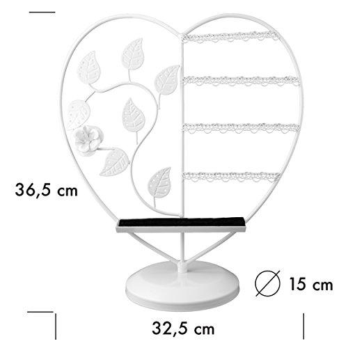 """Schmuckständer im """"Herz"""" Design - Weiß ca. 36 x 32 x 15 cm - Schmuckhalter Aufbewahrung und Präsentation - Grinscard"""
