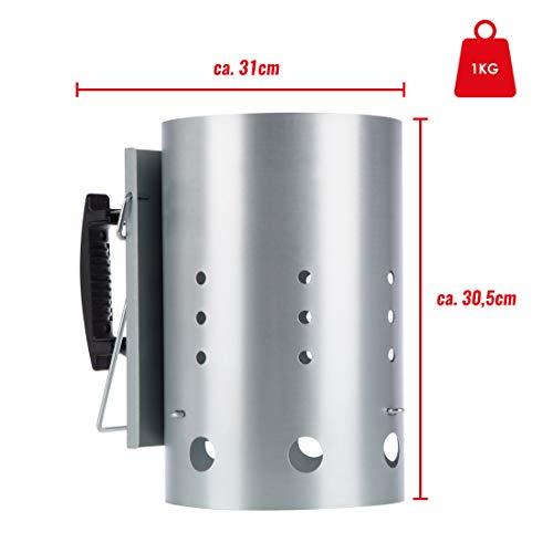 41q1IjUF55L - Bruzzzler Anzündkamin, mit Sicherheitsgriff aus Kunststoff und zweitem Klappgriff, Grillkohleanzünder Brennsäule, Grillkamin Anzünder, 31 x 19,5 x 30,5 cm