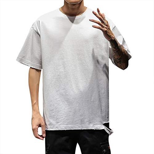 BHYDRY Mens-Sommer-beiläufige Normallack-Oansatz-Kurzschluss-Hülsen-großes T-Shirt Spitzenbluse