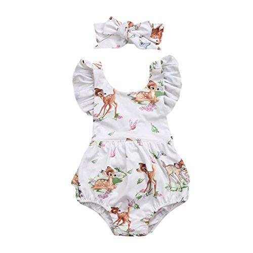 Babybekleidung,Resplend Kleinkind Baby Mädchen Romper 2 Stück Bekleidungssets Rüsche Sling Jumpsuit Tops + Stirnband Outfits Babyanzug (Beige, 18M)