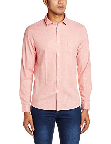 John Miller Men's Casual Shirt (8907372344935_1VS03822_42_Orange)