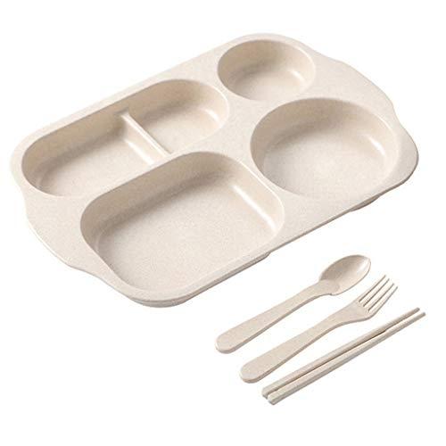 by Bowl Löffel Essstäbchen Geschirr Set Futternapf Anti-heißes Training Teller Kinder Utensilien - Weiß ()