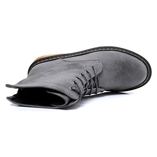 Smilun Damen Kurzschaft Stiefel Schnürstiefel mit Reißverschluss Stiefelette Grau