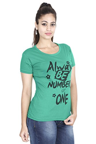 FLEXIMAA Women's Round Neck Printed T-Shirt - (prwpgr10c-m)