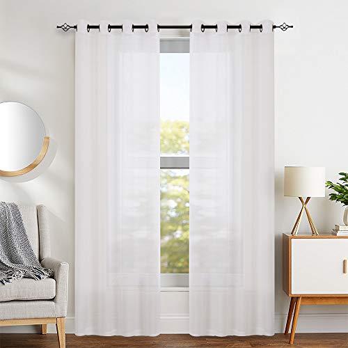 TOPICK Sheer Vorhang mit Ösen Halb Transparent Gardinen 2 Stücke Gaze paarig Fensterschal Vorhänge, Weiß, 130 cm x 225 cm (H x B) -
